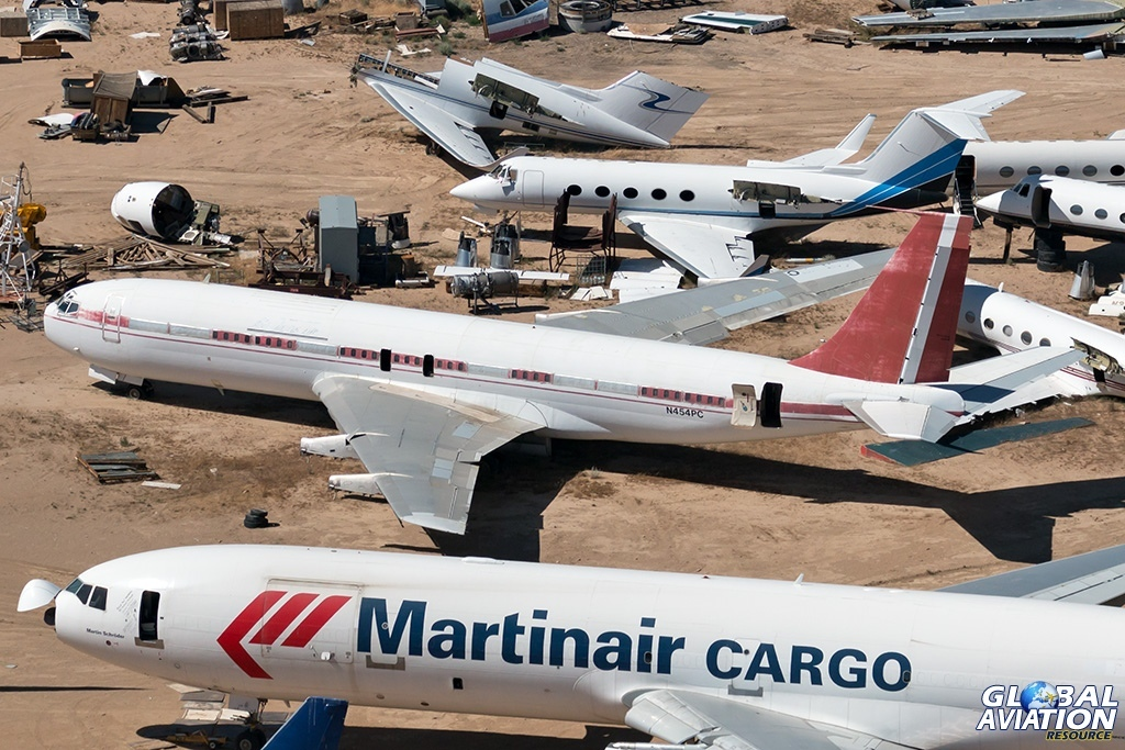 Boeing 707-300B N454PC flanked by a Martinair Cargo MD-11F PH-MCW and Gulfstream IIB N660AF - © Paul Filmer - Global Aviation Resource