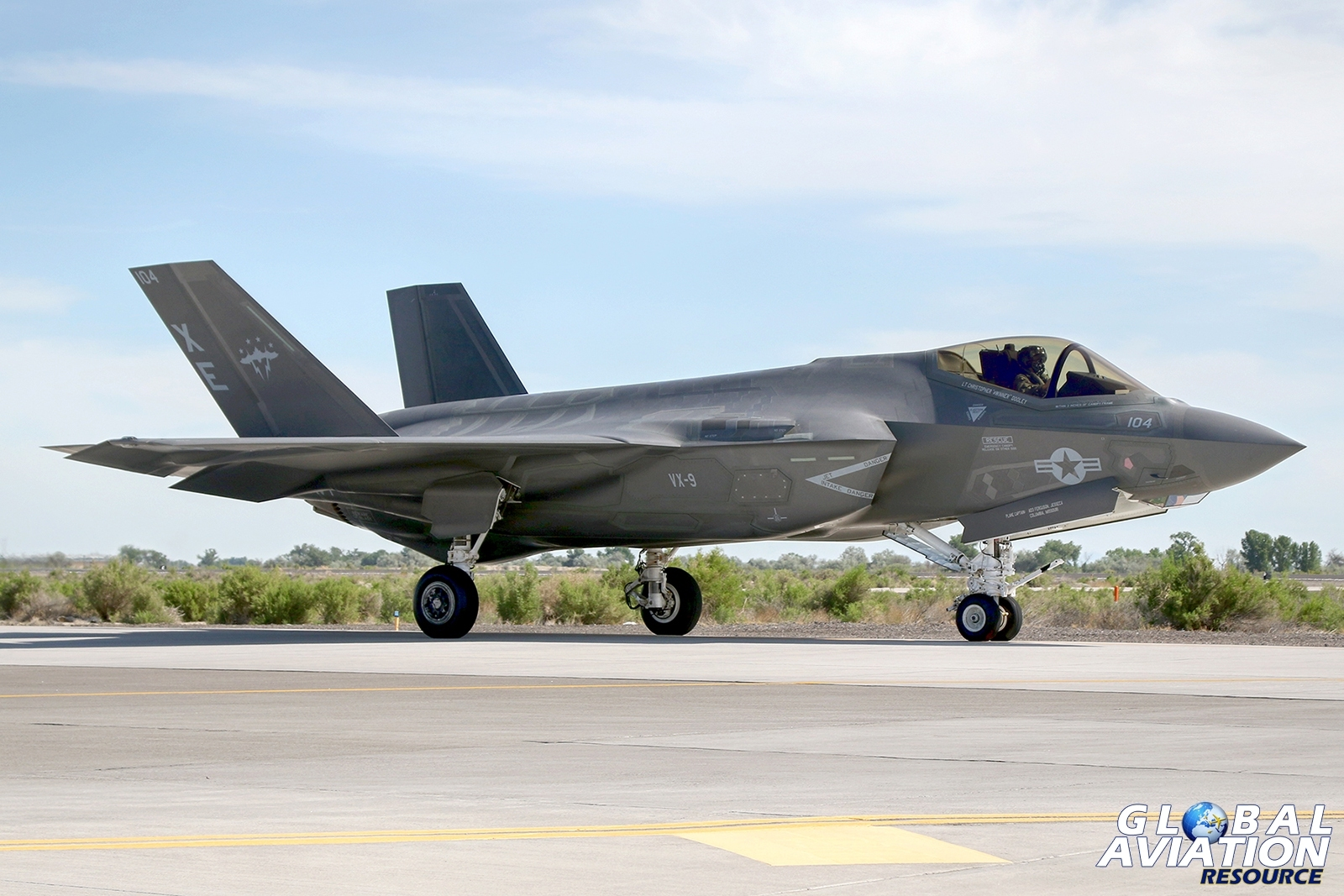 F-35C from VX-9 taxies out as part of a NAWDC organised exercise to devise tactics to integrate the F-35C into formations including fourth generation fighters © Paul Dunn - Global Aviation Resource