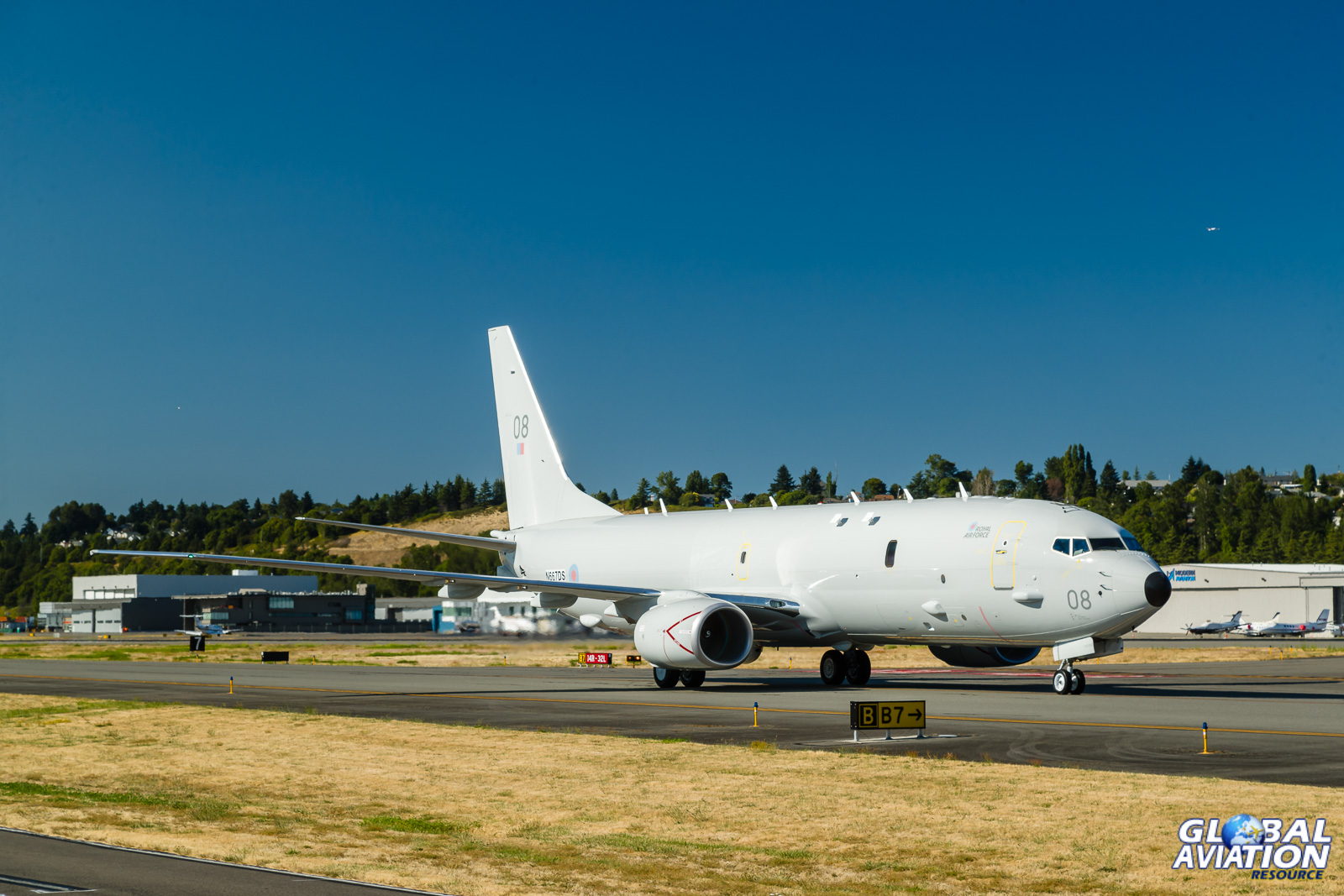 RAF P-8 taxies in after landing at Boeing Field - © Rob Edgcumbe - Global Aviation Resource