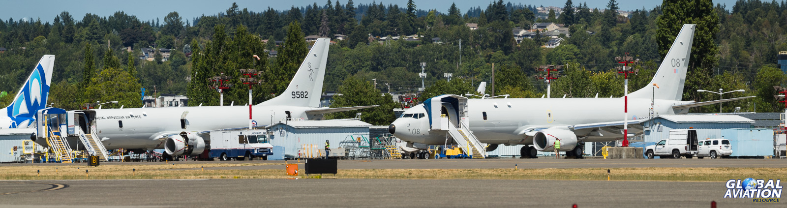 The Norwegian and RAF P-8s sit on the line at Renton - © Rob Edgcumbe - Global Aviation Resource