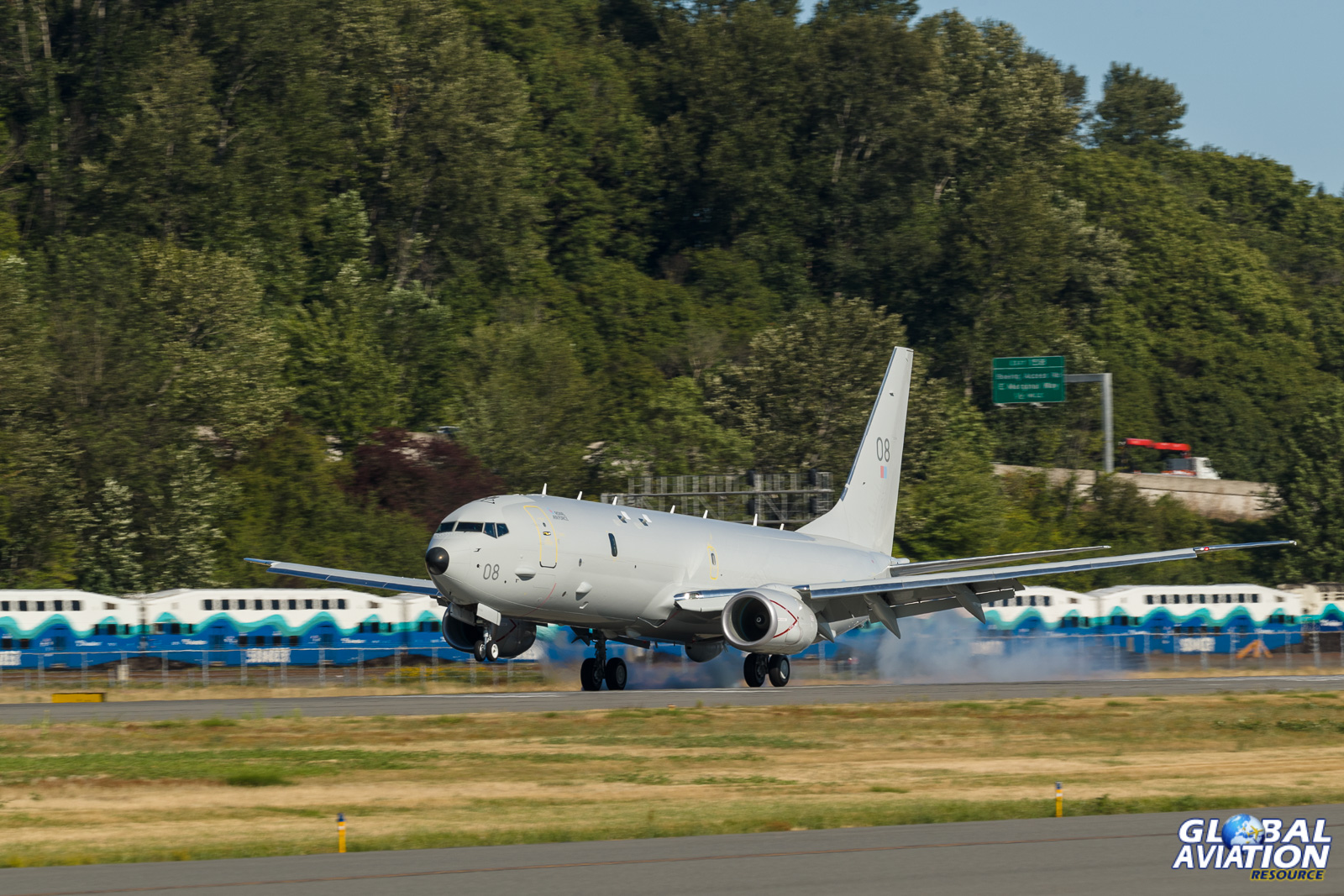 Touchdown at Boeing Field after the eighth RAF P-8's first flight - © Rob Edgcumbe - Global Aviation Resource