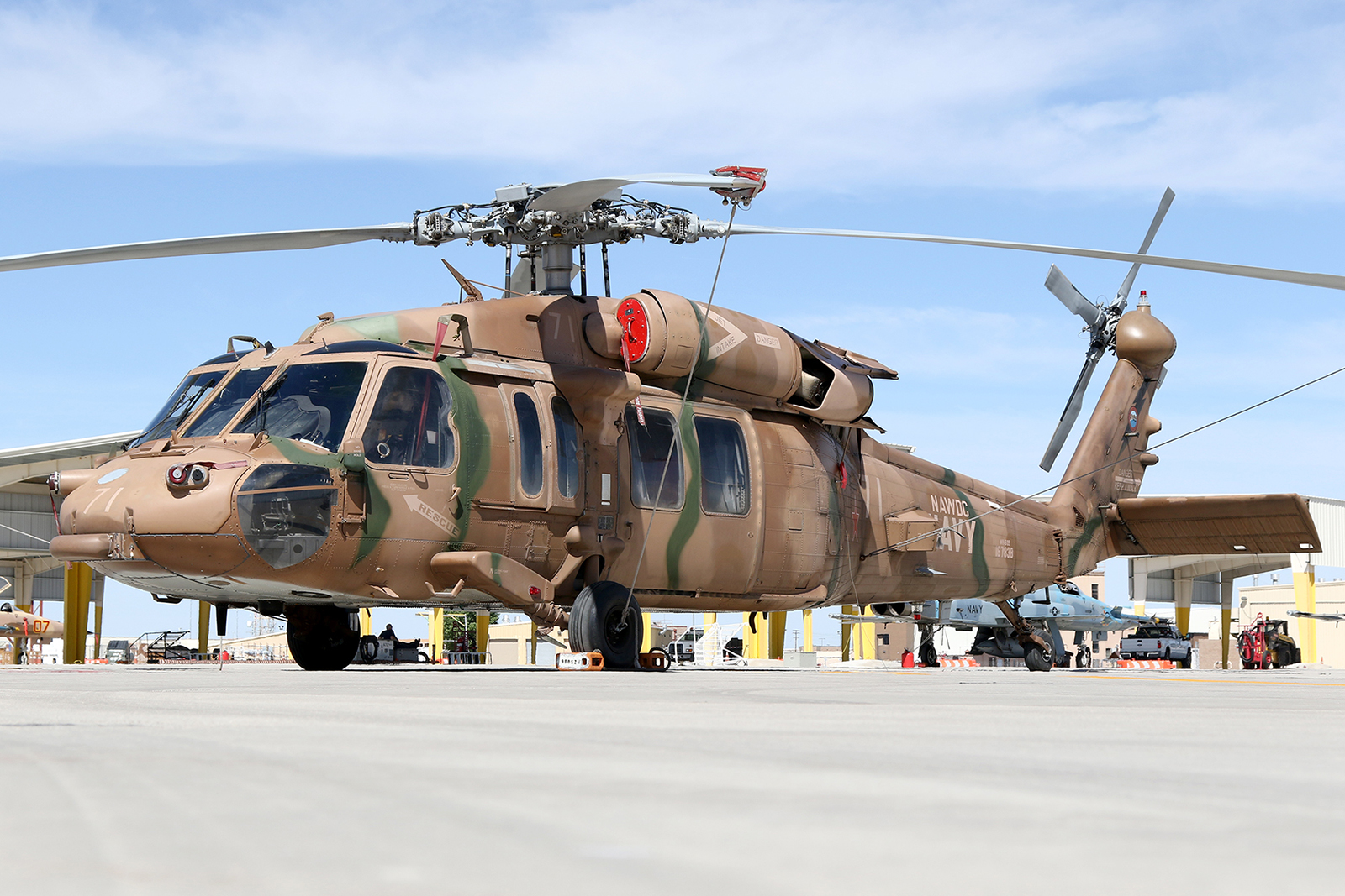 NAWDC MH-60S in a spectacular adversary camouflage scheme © Paul Dunn - Global Aviation Resource
