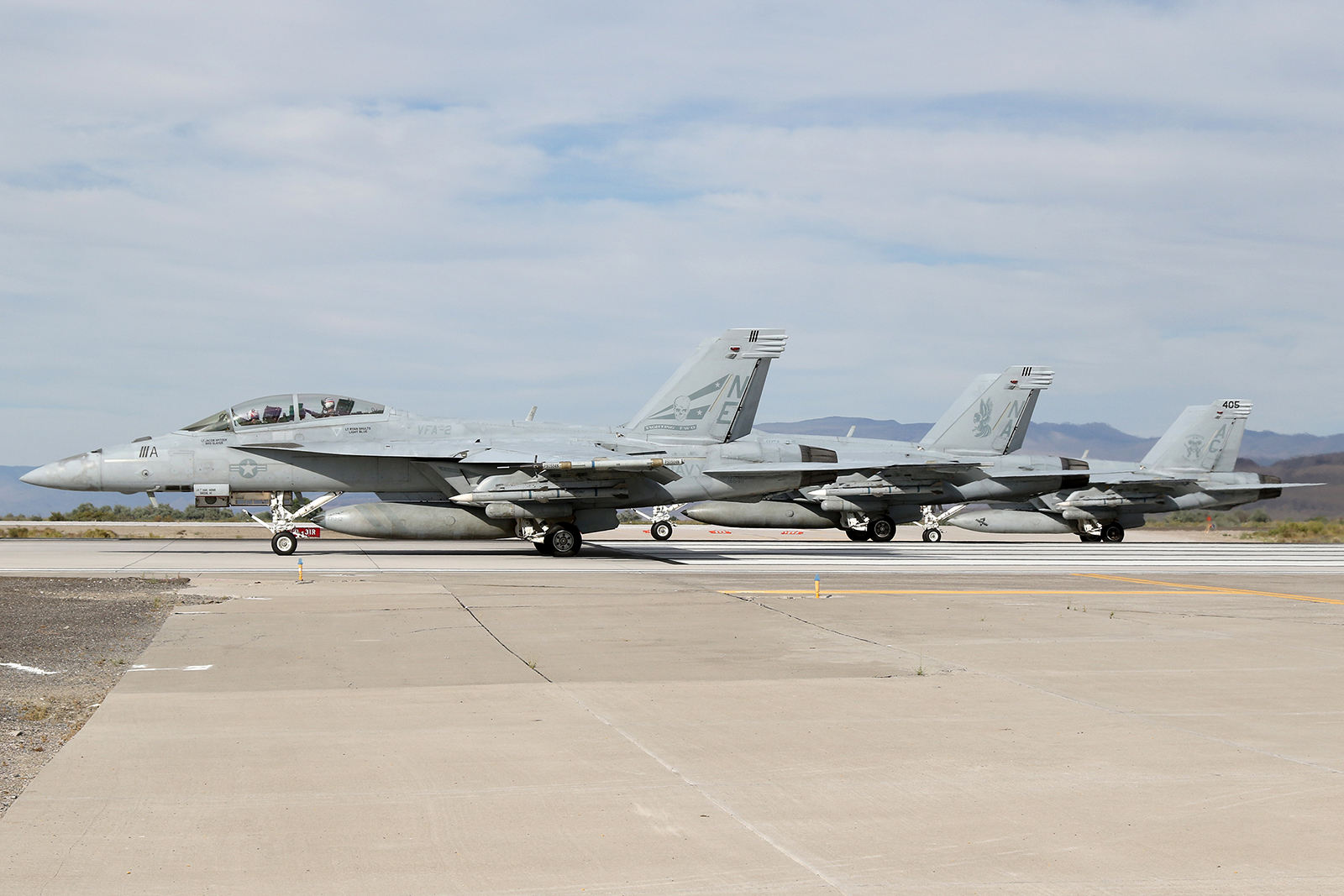 A typical TOPGUN student launch, with F/A-18E/Fs from VFA-2, VFA-22 and VFA-105 preparing for take off © Paul Dunn - Global Aviation Resource