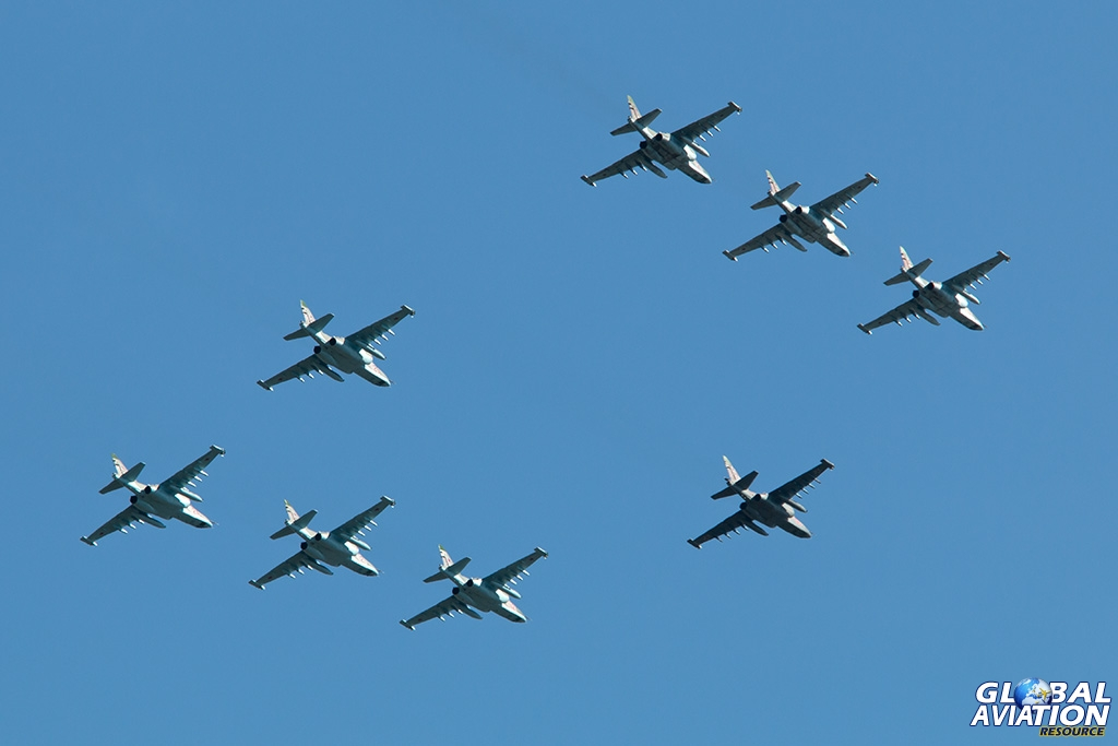 Su-25s in formation at Chkalovsky - © Paul Filmer - Global Aviation Resource