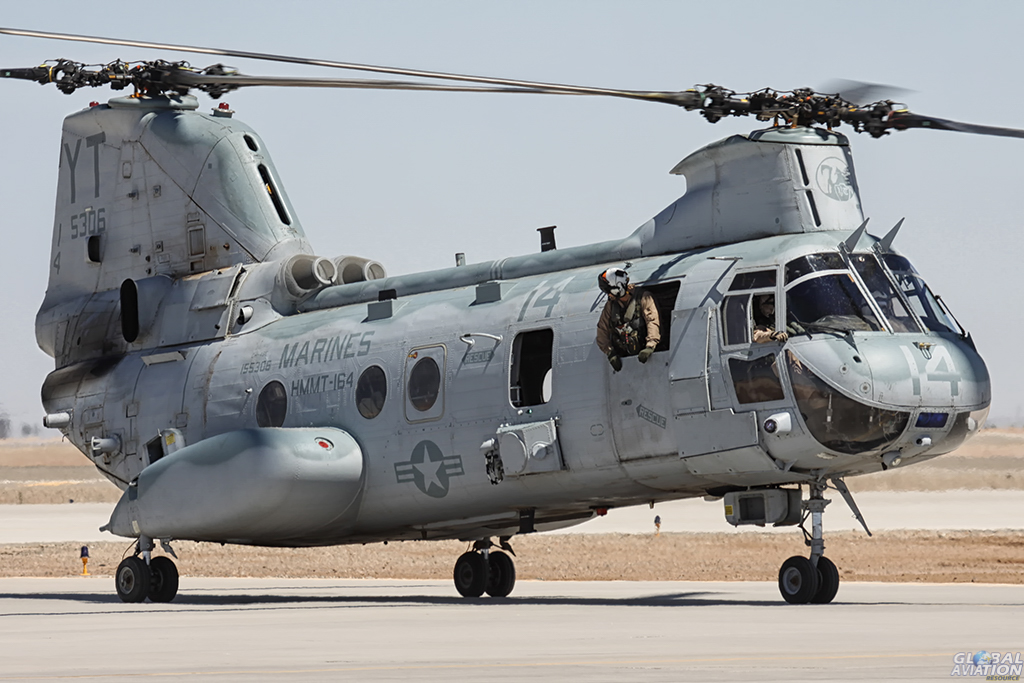 CH-46 Sea Knight, affectionately known as the 'Phrog'. This CH-46 was with HMMT-164 'Knightriders'. It was retired and the squadron is now equipped with the MV-22B Osprey and the squadron is called VMM-164. Alan Kenny