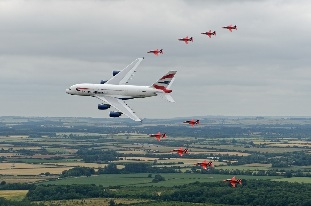 Air to air – Red Arrows & British Airways A380 at RIAT 2013