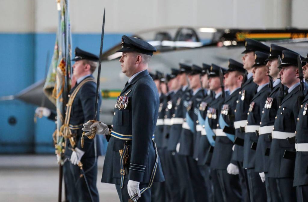 Wg Cdr Brussani in front of the parade as they await review - Crown Copyright / RAF Marham