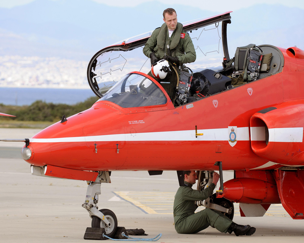 Flt Lt Joe Hourston - Red 3 - emerges from his jet having arrived at RAF Akrotiri - MoD / Crown Copyright