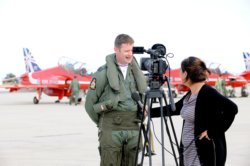 Squadron Leader Jim Turner - Red 1 is interviewed on his arrival in RAF Akrotiri - MoD / Crown Copyright