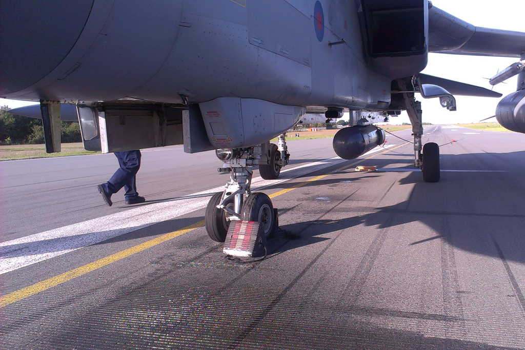 An unexpected trip to Warton when a hydraulic pipe in the radar pack failed - image c/o Ollie Suckling